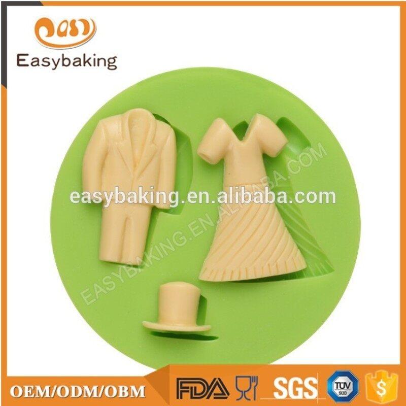 Factory outlet lady dress shape 3D silicone fondant cake decoration mold