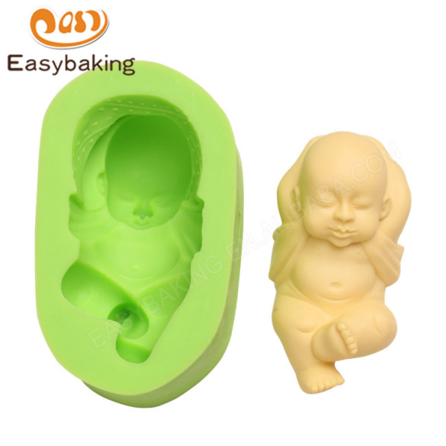 3D Sleeping Baby Silicone Fondant Mould for Cake