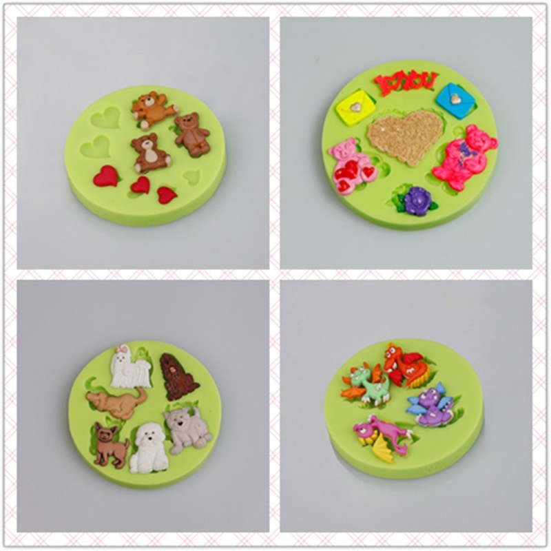 Cute Kissing Cats Fondant Silicone Candy Molds For Sale