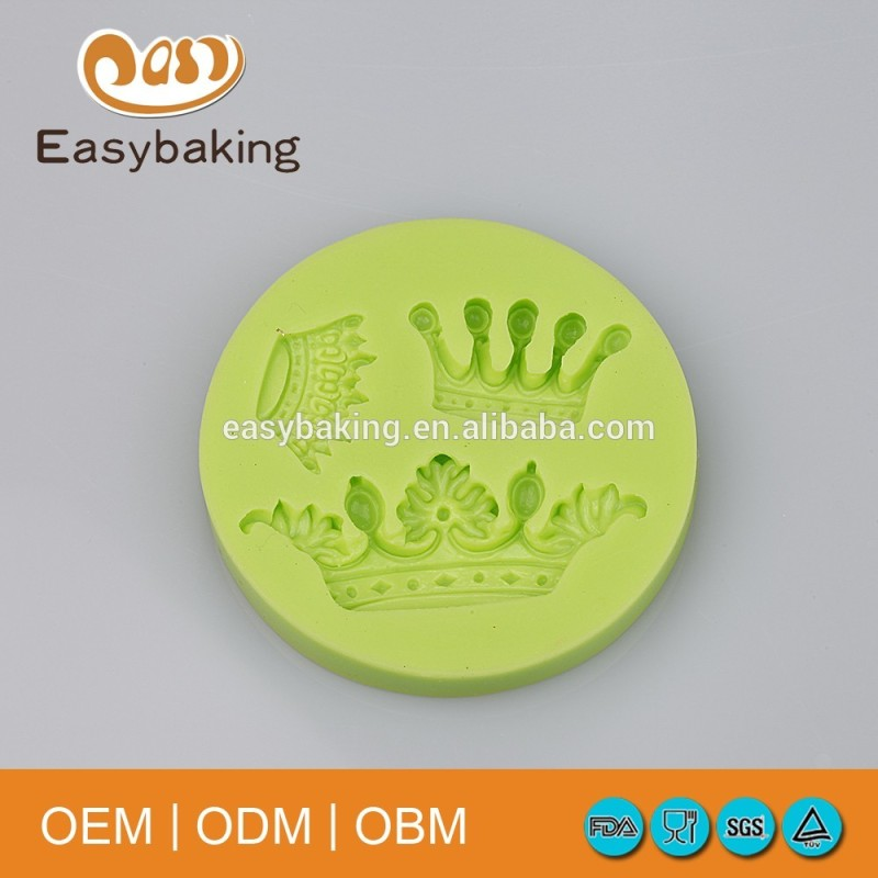 3 Queen Crown Craft Ornament Bakeware Wedding Cake Decorate Fondant Silicone Molds