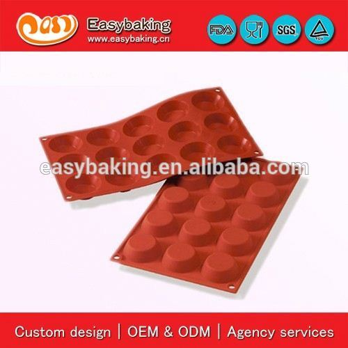 Factory direct sell 15 Cavities tartelette mould cake silicone bakeware