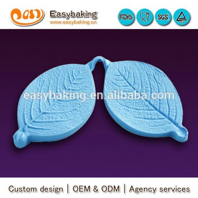 China factory supply small veiner rose leaf fondant silicone mould