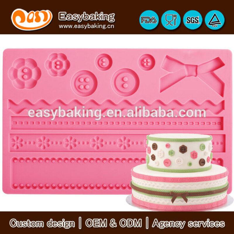 Silicone Onlays Fondant Fabric Cake Border Sugarcraft Mold
