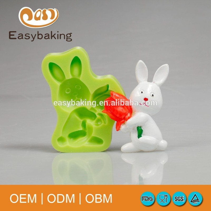 High Quality Sugarpaste Cake Decoration Silicone Easter Bunny With Tulips Mold