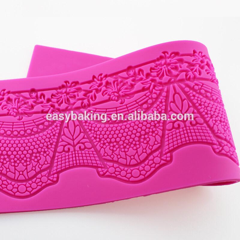 High Quality Wedding Cake Scroll Border Lace Silicone Impression Mats