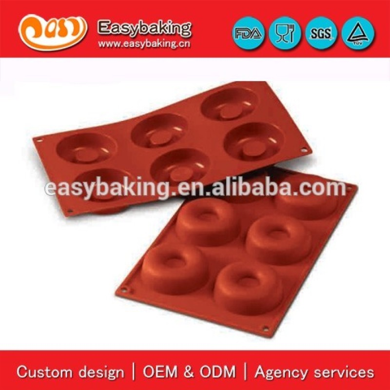 Good Quality 6 Cavity Baking Silicone Big Savarin Mold For Sugar Chocolate