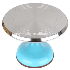 Colorful Casting Aluminum Revolving Cake Stand For Cake Decorating Tray
