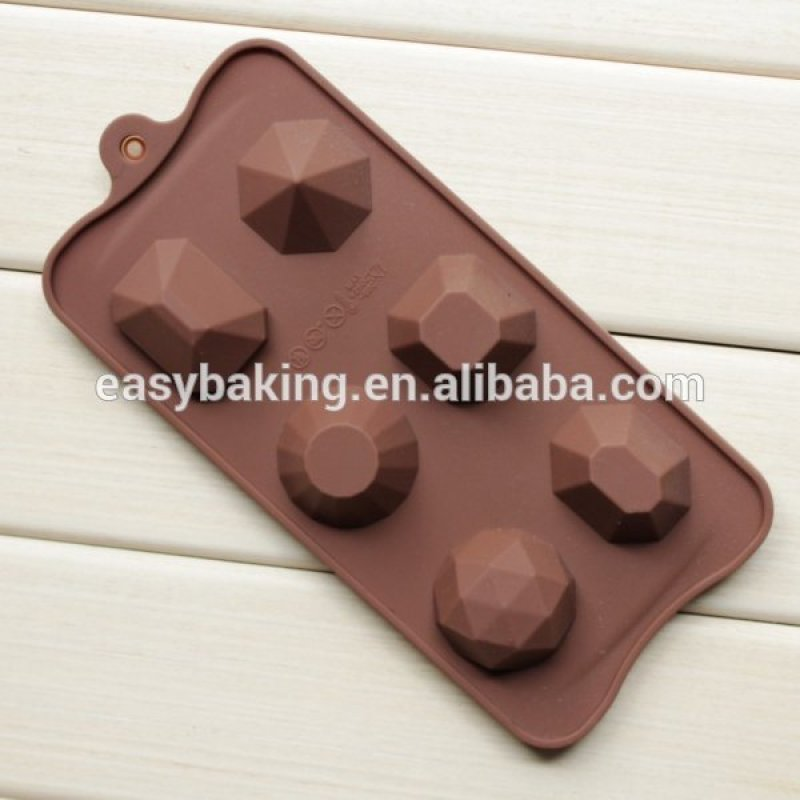 Hot selling 6 Cavities Diamonds Shaped Chocolate Silicone Mold