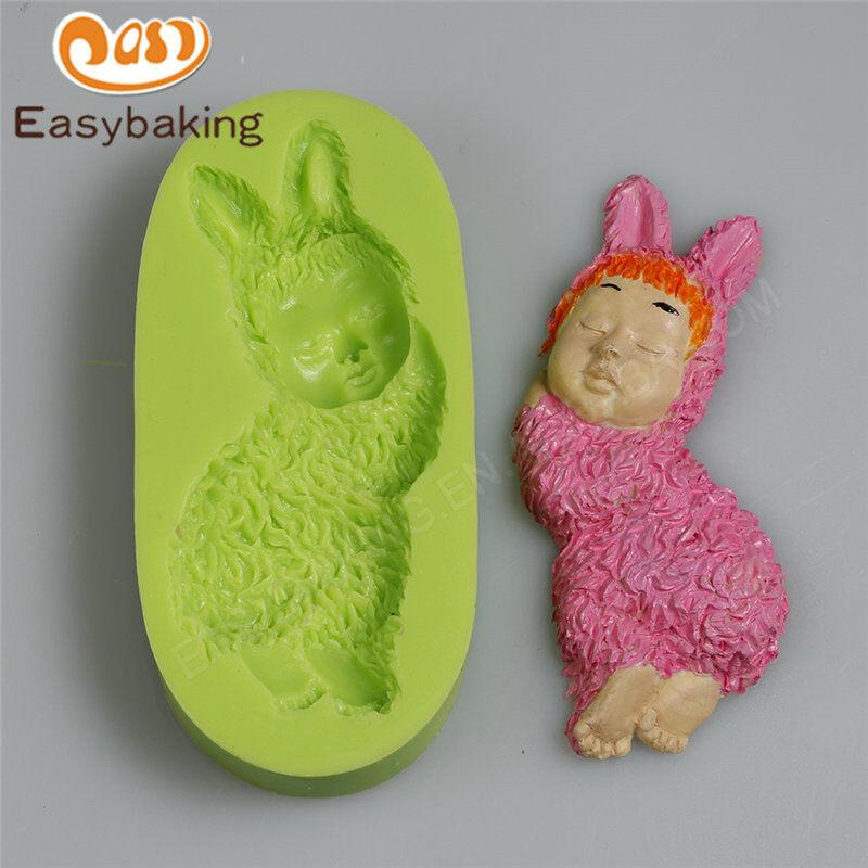 Cute baby rabbit decorated fondant cake chocolate silicone fondant mold