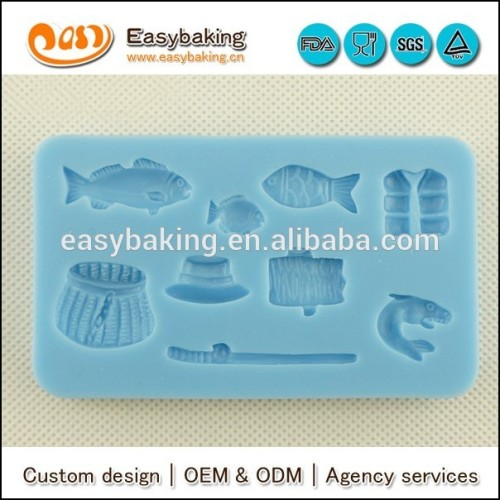 Angler theme fishing gear birthday cake decorate silicone molds