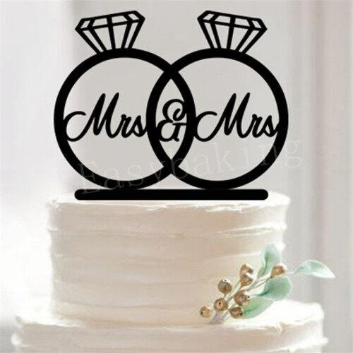 Wedding Engagement Mr & Mrs Decorating Diamond Rings Cake Topper