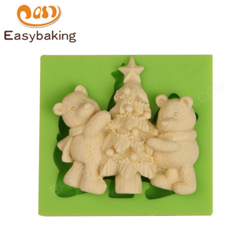 NEW Cutely Bears with Christmas Tree Silicone Mold For Clay
