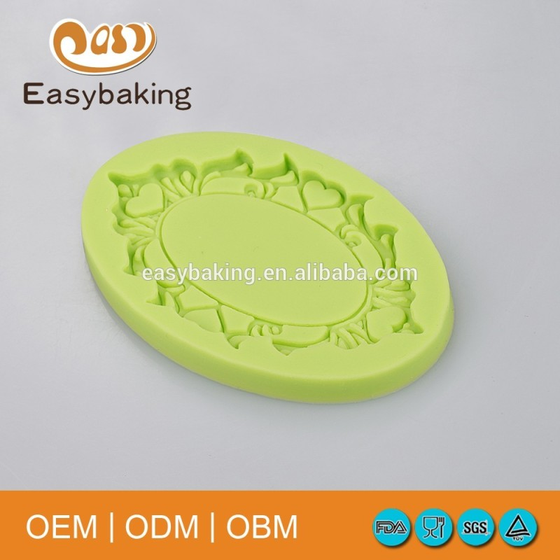 European Vintage Mirror Shape Silicone Baking Molds For Cake Decorating/Soap