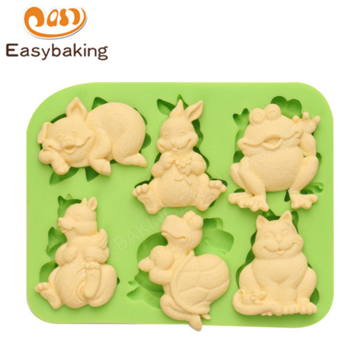 Animal Theme Pig Frog Cat Tortoise Cake Topper Decoration Silicone Mold