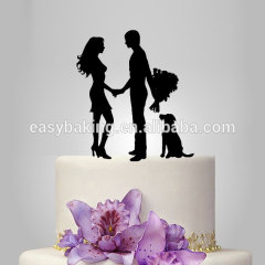 Custom lovers with dog style marriage proposal cake topper