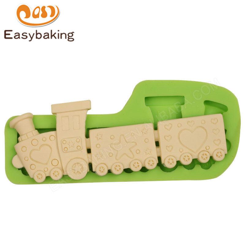 Cartoon train shape silicone cake decorating mold