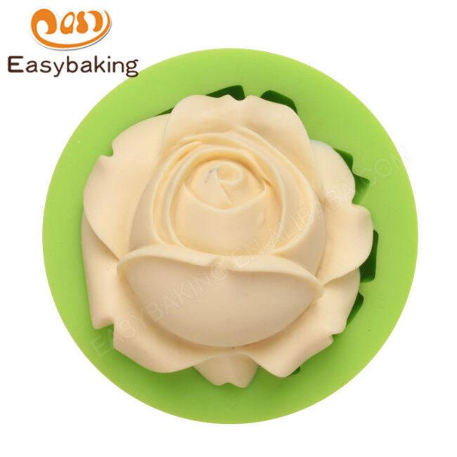 Rose-shaped candle fondant chocolate cake silicone mold