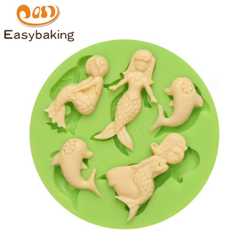 Baby Mermaid Silicone Molds Fondant Mould for cake decorating