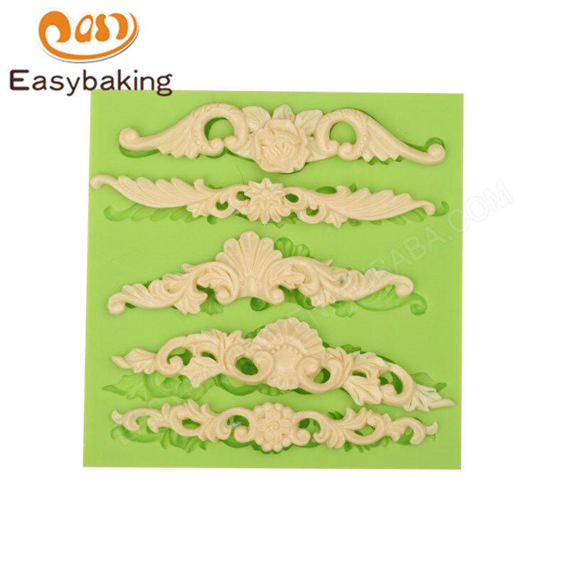 Creative craft European flower border swirl shape silicone gem mold cake decoration tools