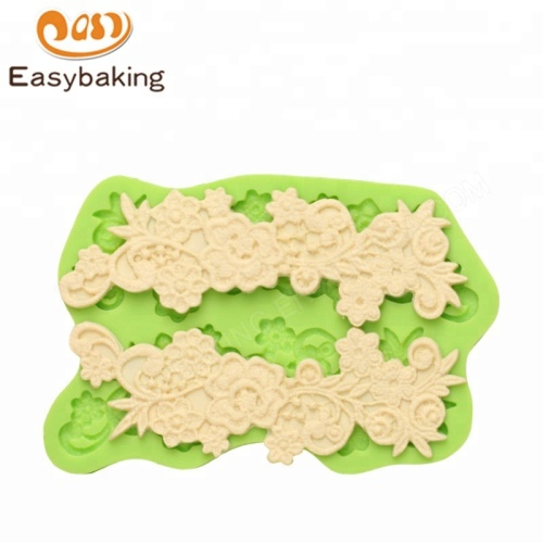 Borders and Lace Flower with Scrolls Silicone Mold Cake Tools