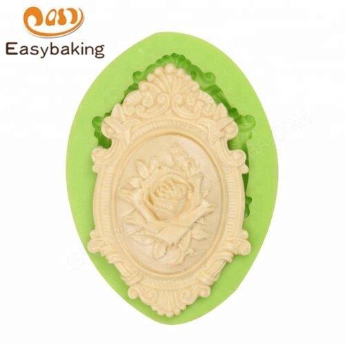 European Style Retro Rose Frame Cake Decorating Silicone Sugarcraft Mould