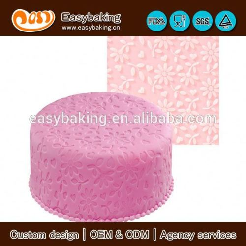 The classical floral fantasy silicone impression fondant mat for cake decorating