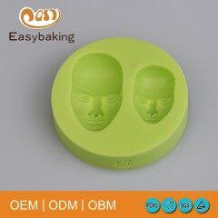 Popular Design 2 Cavities Cute Men Face Silicone Soap Molds