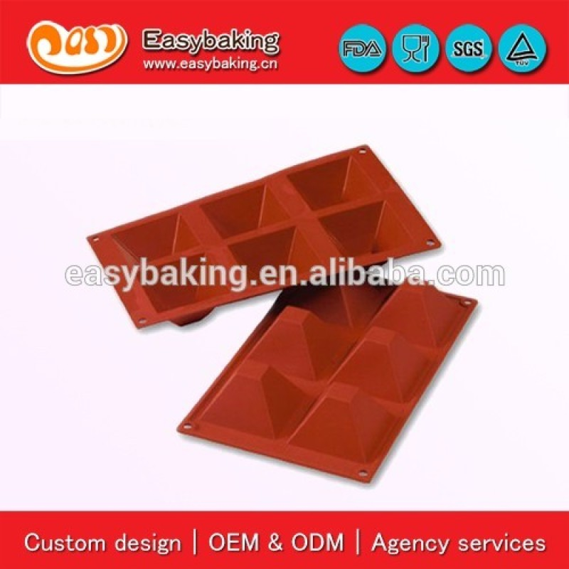 6 Cavity Non-Stick DIY Swiss Triangle Chocolate Mold Silicone Baking Pan