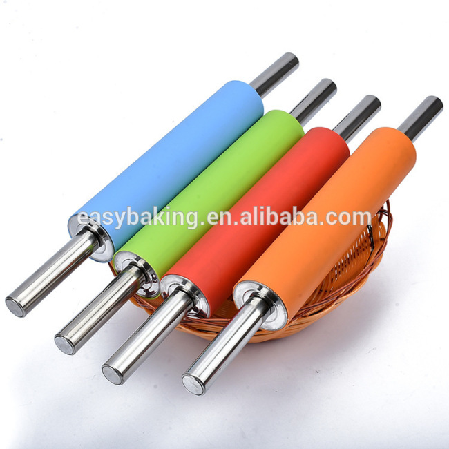Silicone Rolling Pin with Stainless Steel Handle Rolling Dough Non Stick