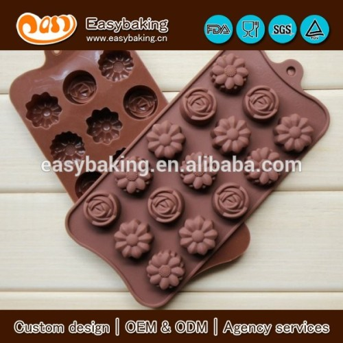 15 cavity rose sunflower flower silicone mold chocolate cake bakeware tools