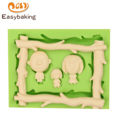 Wood Frame Shape Family Silicone Fondant Cake Decoration Mould