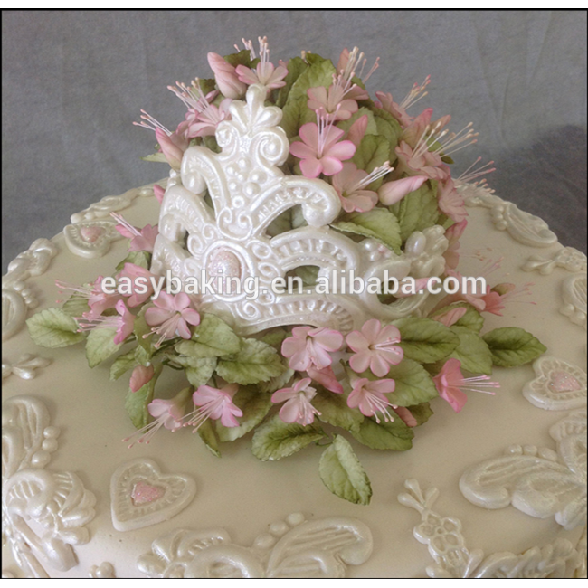 Wedding cake decoration fondant silicone imperial crown lace tiara mold