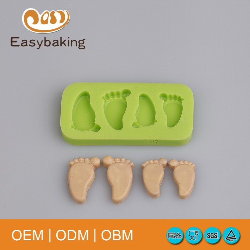 Creative Fondant cake Decorating tools different sizes Feet shapes silicone molds