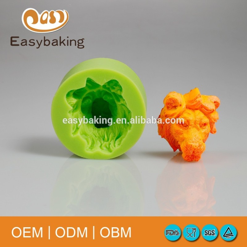 3D Handmade Craft Trophy Lion Head Animal Themed Cake Decorate Silicone Soap Mold
