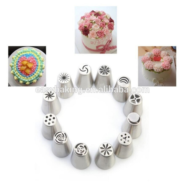 304 Stainless Steel Nozzle Cream Tulip Six Petal Cupcake Decorating Russian Piping Tips