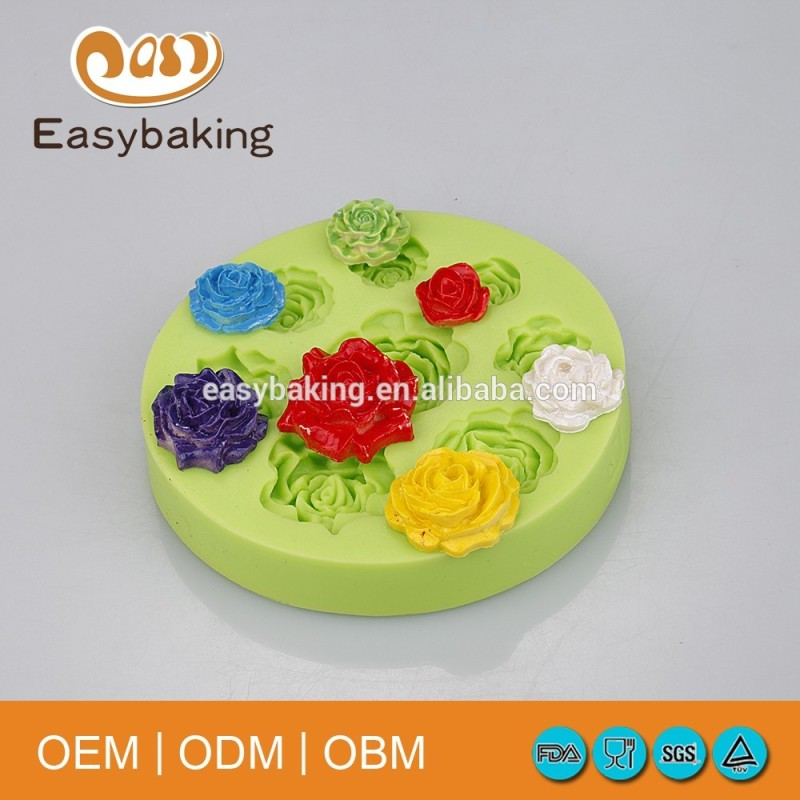 Various Peony Rose Flowers Artificial Cake Decorate Silicone Molds
