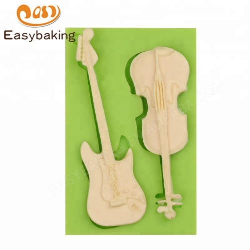 Violin Guitar Candy Clay Chocolate Gumpaste Silicone Molds Cake Decorating Tools