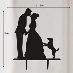 Bride Groom and Dog Acrylic Cake Topper for Wedding Anniversary
