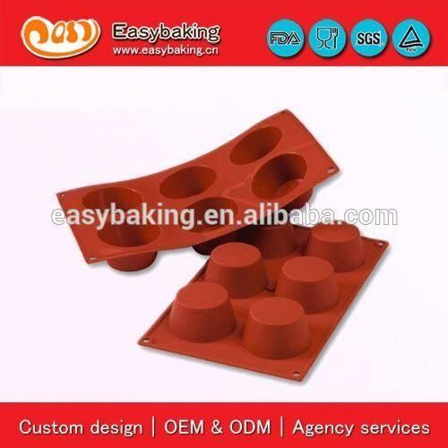 Best selling 6 Cavities medium muffin custom silicone baking pan