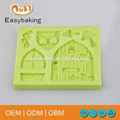 Pastoral Style Arts & Crafts Doors Windows Mushroom Silicone Cake Decorating Soap Molds
