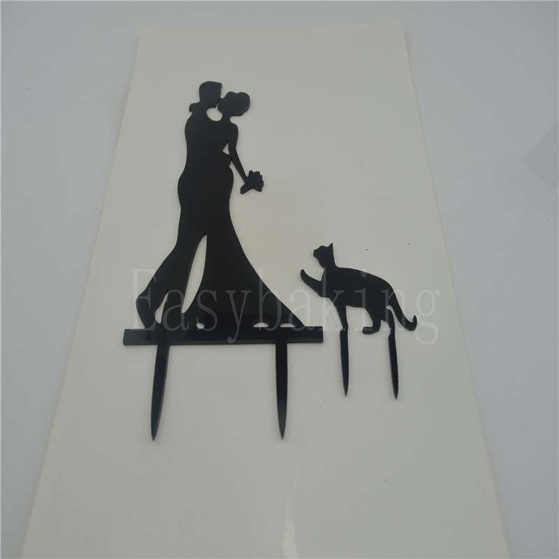 Funny Bride Groom and Pet Decorate Acrylic Wedding Cake Topper