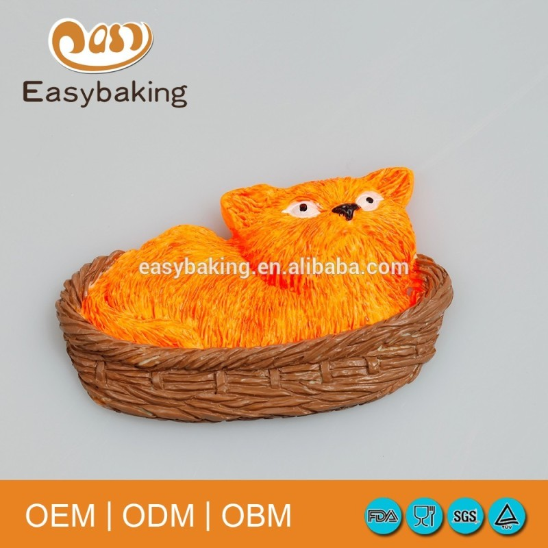 Resin cat in bed silicone mold