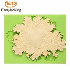 Retro Lace Heart Embossed Cake Border Silicone Mould