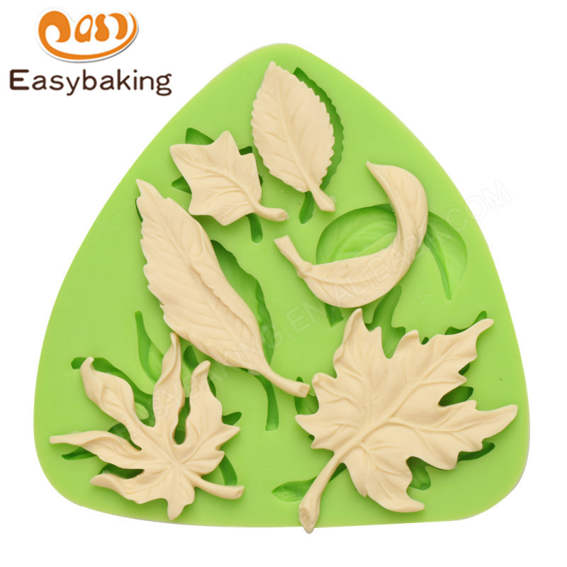 3d leaf silicone fondant cake mold