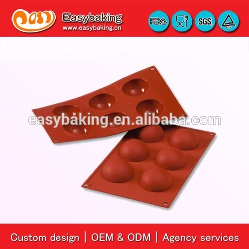 6 Cavity Non-Stick Cupcake Middle Half Sphere Silicone Baking Mold