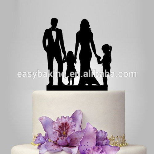 Custom Family Cake Topper Couple with Kids Silhouette