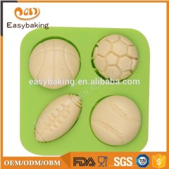 3D ball rugby shape silicone decoration mold for cake & cookie