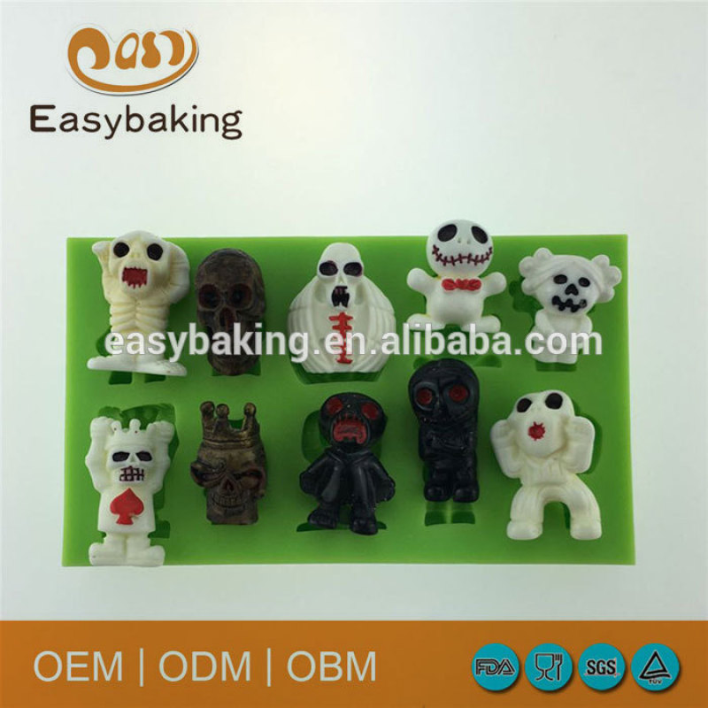 Halloween Skull Dog Shape Silicone Fondant Polymer Clay Molds