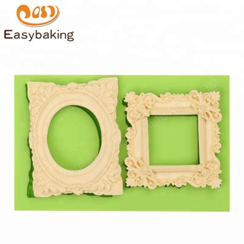 Vintage Rectangle Mirror Frame Silicone Mould for Cake Border