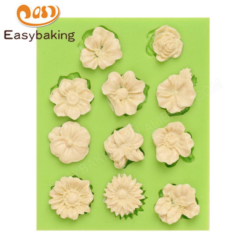 Flower-shaped silicone chocolate fondant cake decoration mould